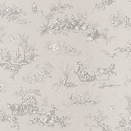 Rasch Lazy Sunday Grey Toile De Jouy Paste The Wall Wallpaper