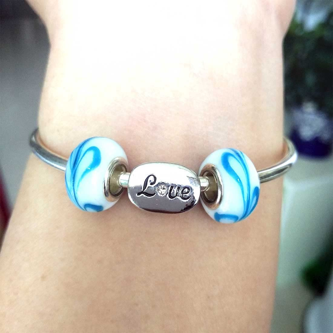 Love Oval Bead Charm Bracelets GiftJewelryShop Silver Plated Blue Letter P Photo White Crystal April Birthstone