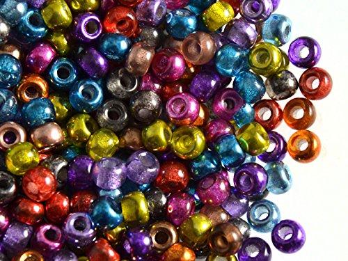 50pc Czech Glass Pressed Pony Beads 5.5mm, Large Hole, Semi-Apollo - Beads Pony Glass