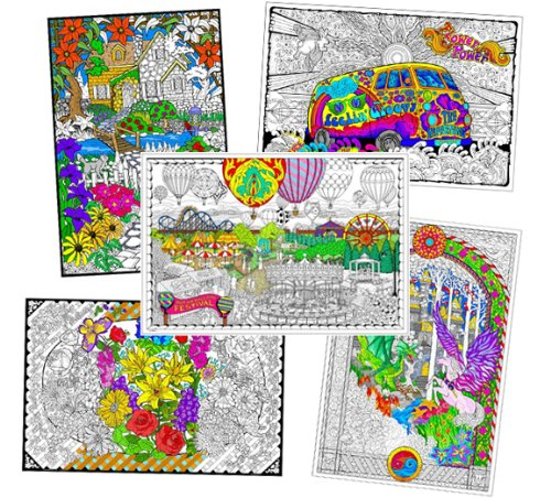 Wall Poster 5 Pack - Giant 22 X 32.5 Inch Line Art Coloring Posters (Classic) (Line Art Posters To Color)