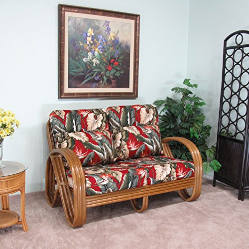 Kailua Rattan Loveseat (Honey finish) Cushions Made in USA by urbandesignfurnishings.com