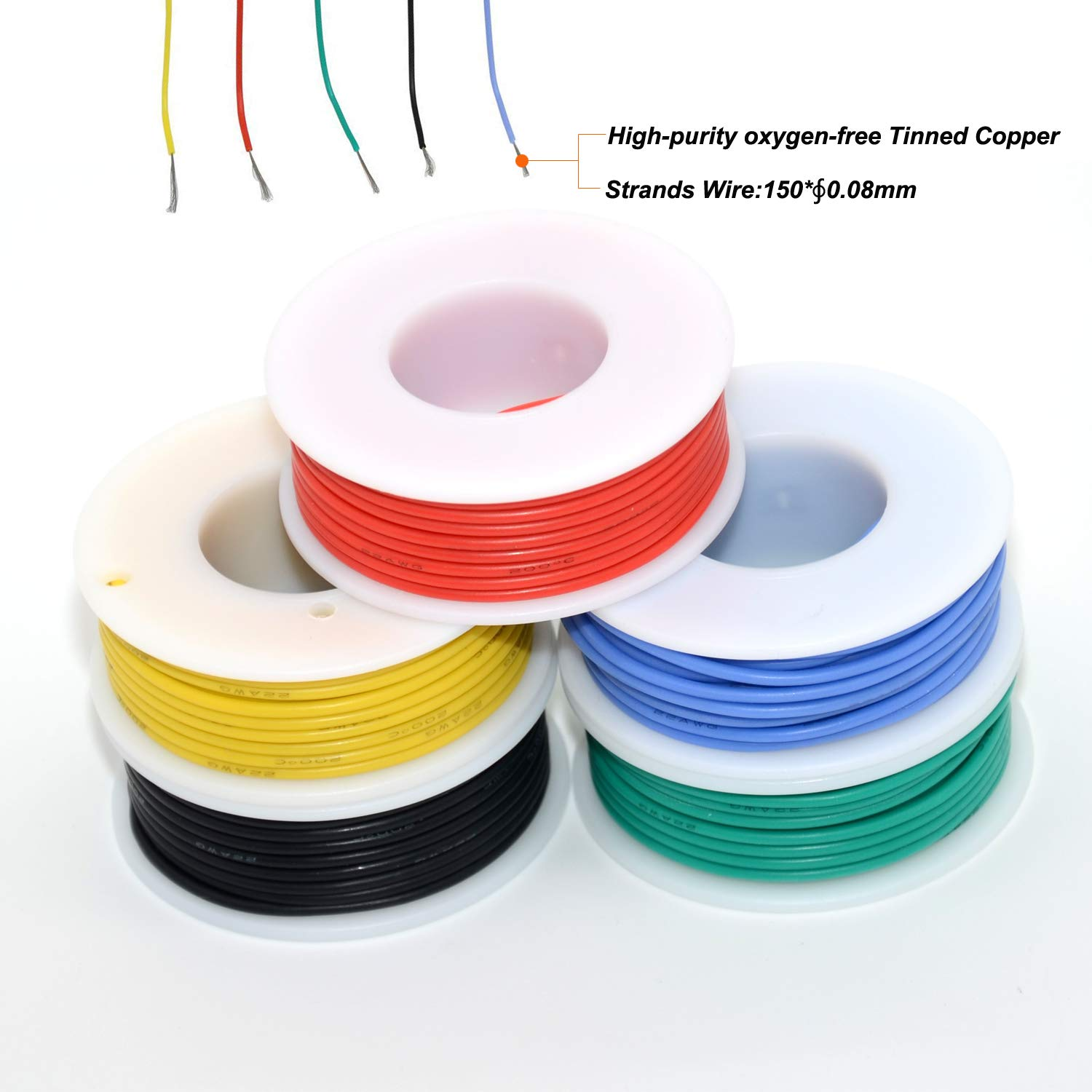 24 awg Silicone Electrical wire Cable 5 Colors 24 gauge HookUp wires electronics kit stranded Tinned Copper wire Flexible and soft for DIY 29.5ft each