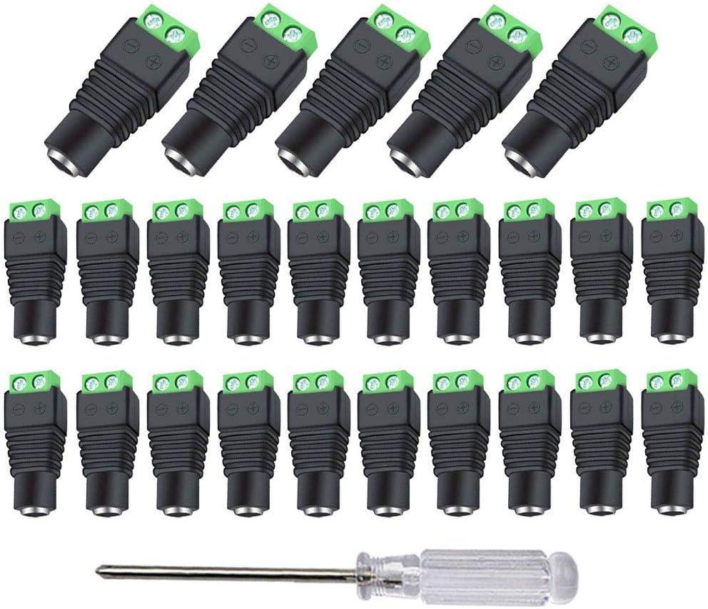 Aiqeer 25 Piezas 12V / 24V DC Conector Jack Hembra, 2.1 X 5.5 mm DC Alimentación Conector Jack, Conector Terminal de Tornillo DC, para Cámara CCTV (Verde)