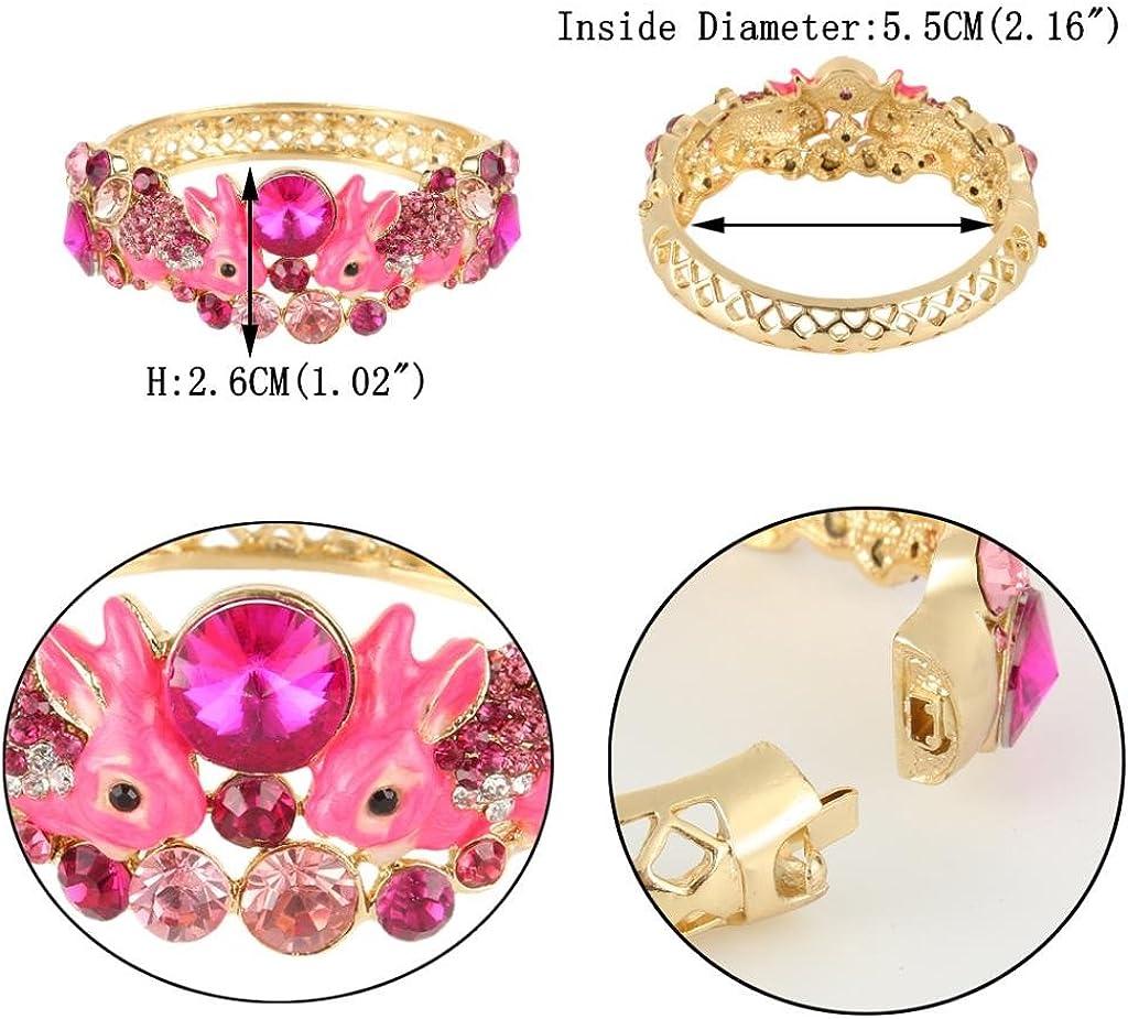 EVER FAITH Womens Austrian Crystal Enamel Adorable 2 Rabbit Bangle Bracelet Gold-Tone