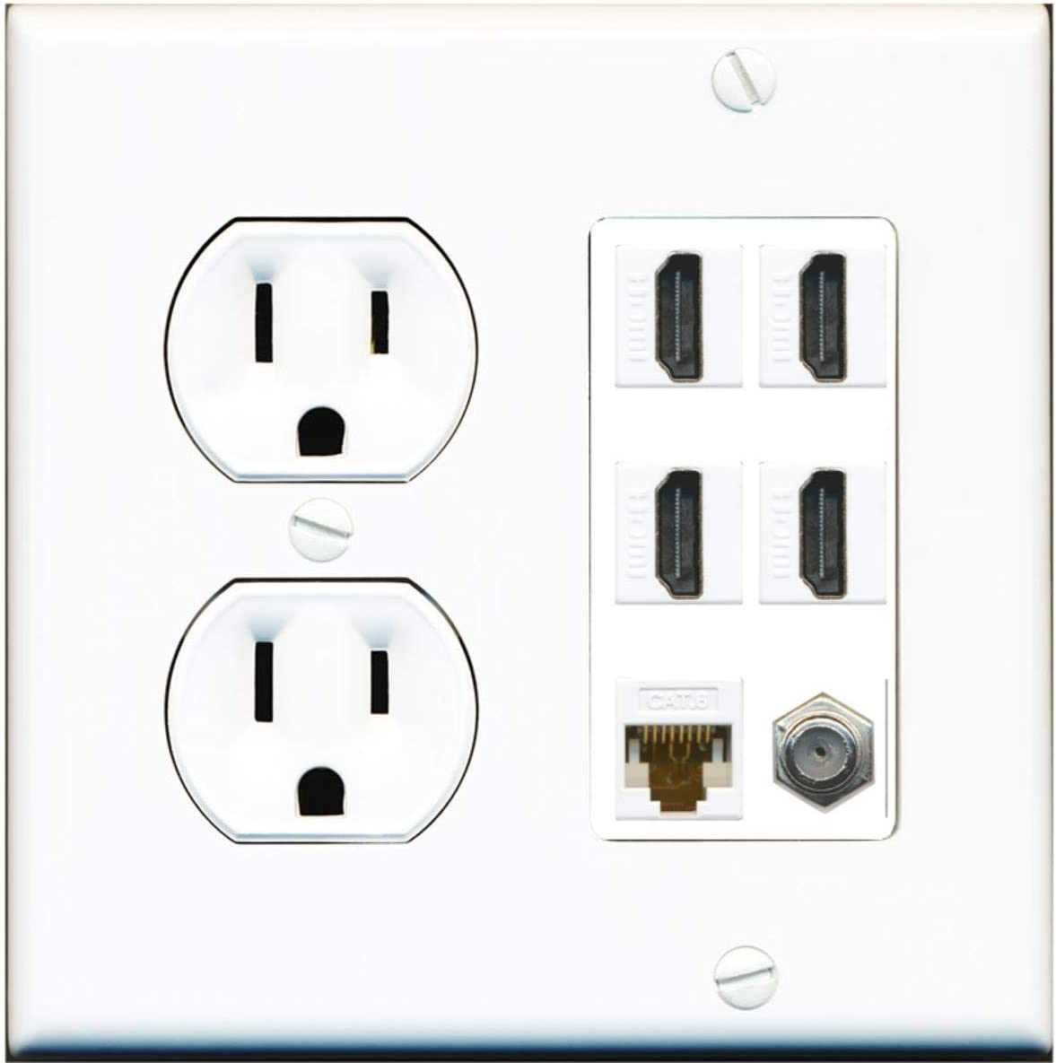 White 25  Single Gang Coaxial F Face Cable Tv Outlet Jack Wall Plate