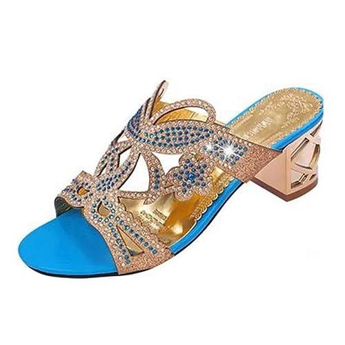 be85c96cfaf2f Femmes de Mode Strass Coins Sandales Plate-Forme Ouverte Orteil Anti-Dérapante  Talon de