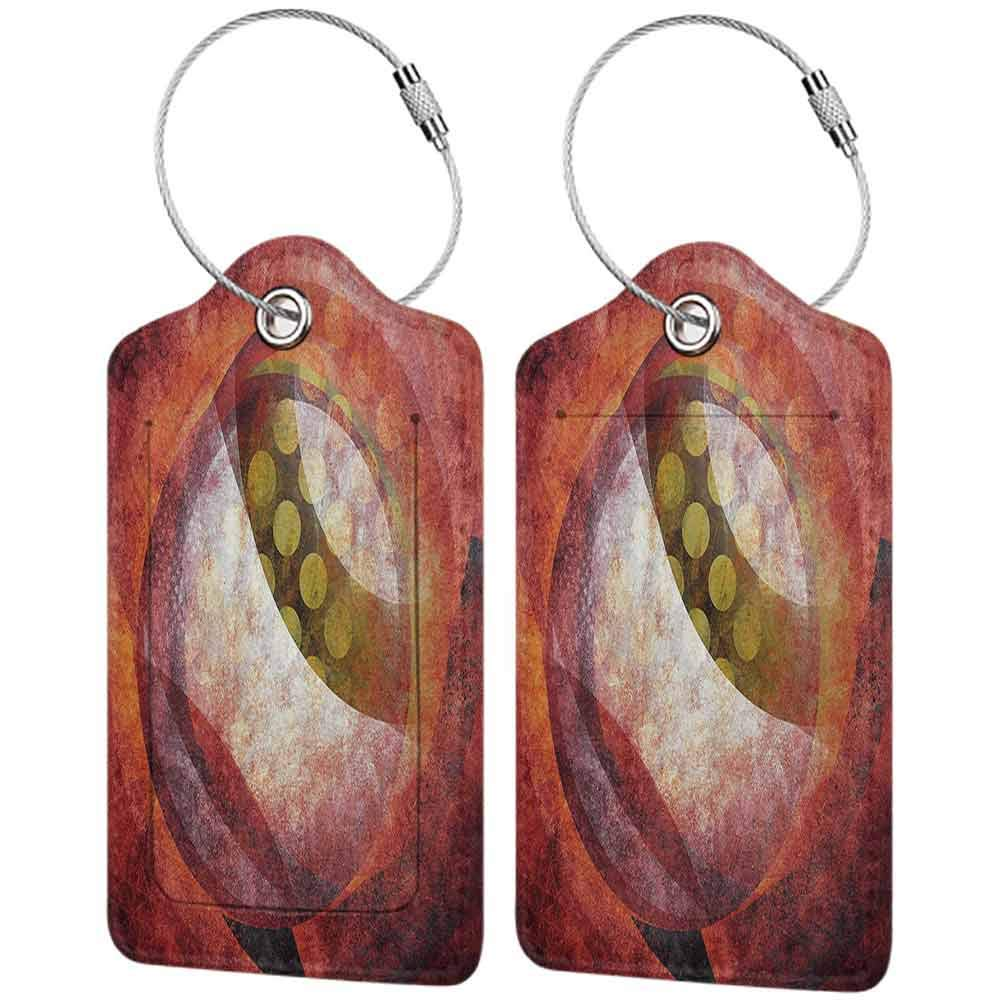 Multi-patterned luggage tag Psychedelic Decor Grunge Trippy Abstract Circles in Murky Tones with Dark Effects Picture Double-sided printing Mustard Ruby W2.7 x L4.6