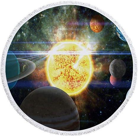 Toalla De Playa Redonda Manta Gruesa De Gran Tamaño,Universo Space Golden Sun Y Planetas ,Tejido Microfibra Con Borlas De Algodón,Impresión Grande De 60 Pulgadas A Prueba De Arena Seca Rápida Acam: Amazon.es: