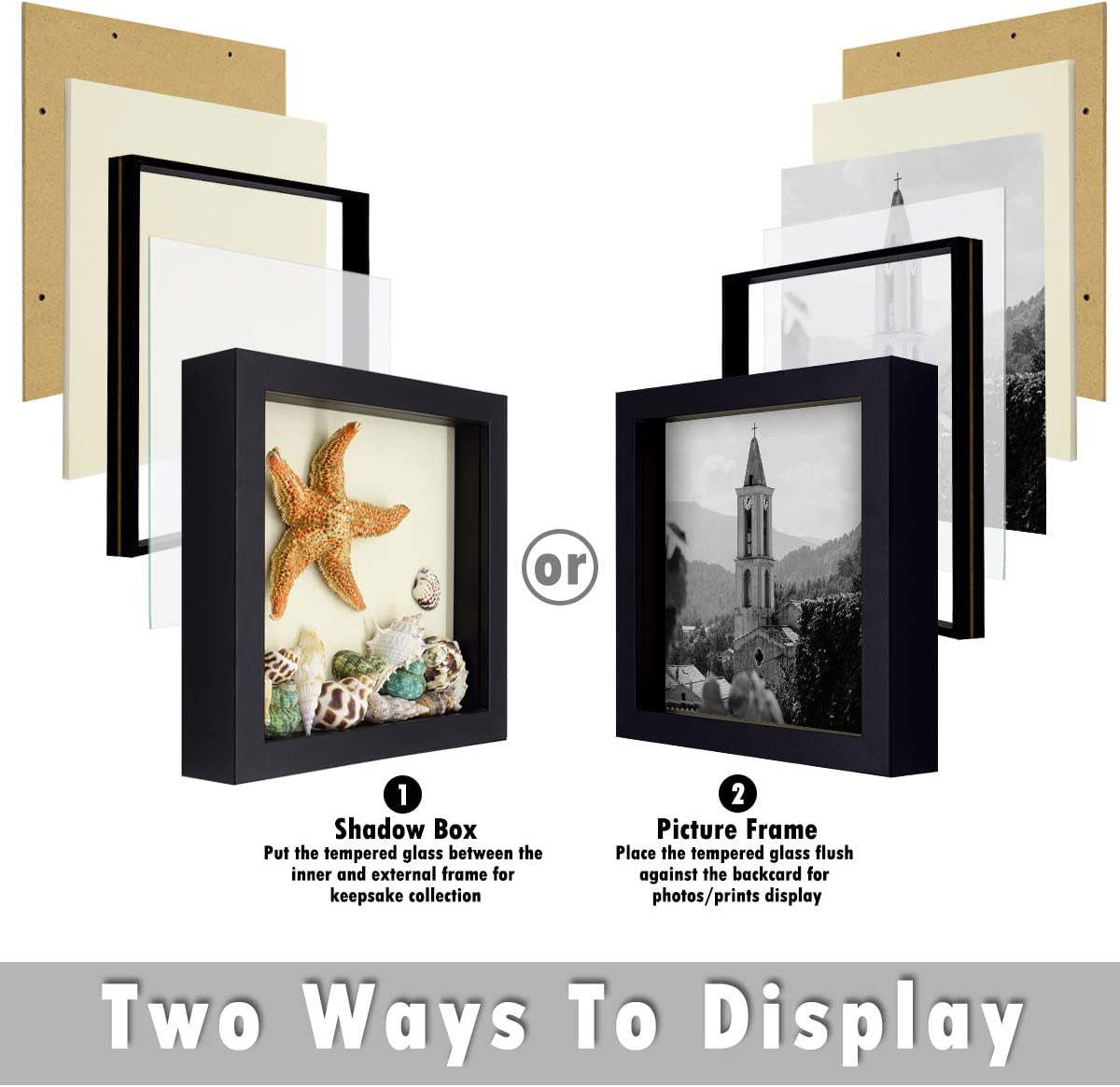 Black Color Swivel Tabs Sawtooth Hanger Receipts Holder Frame Plane Tickets Great for Travel Souvenirs 2 Set Black, 8x8 Brochures 8x8 Shadow Box Wall Display Frametory Pictures