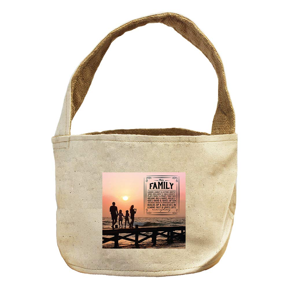 in Family Other and Laugh Loudly Everyday Canvas and Burlap Storage Basket