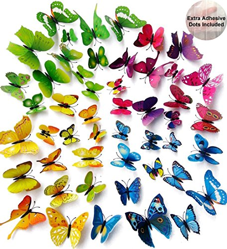 ElecMotive 48 Pcs 4 Packs Beautiful 3D Butterfly Wall Decals Removable DIY Home Decorations Art Decor Wall Stickers & Murals for Babys Bedroom TV Background Living Room (48 pcs in 4 Colors) ()
