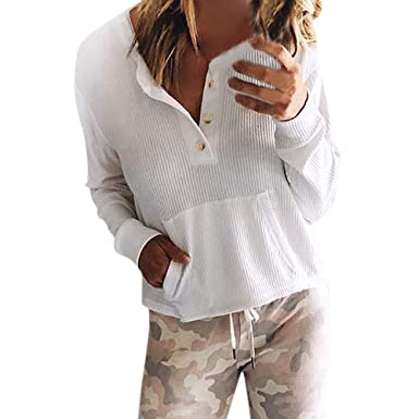 NUWFOR omen Casual Cuffed Sleeve V Neck Button Down Shirts Blouse Tops Pockets For Winter/