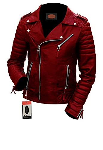 Laverapelle Men's Lambskin Real Leather Jacket Red - 1510474 - Large