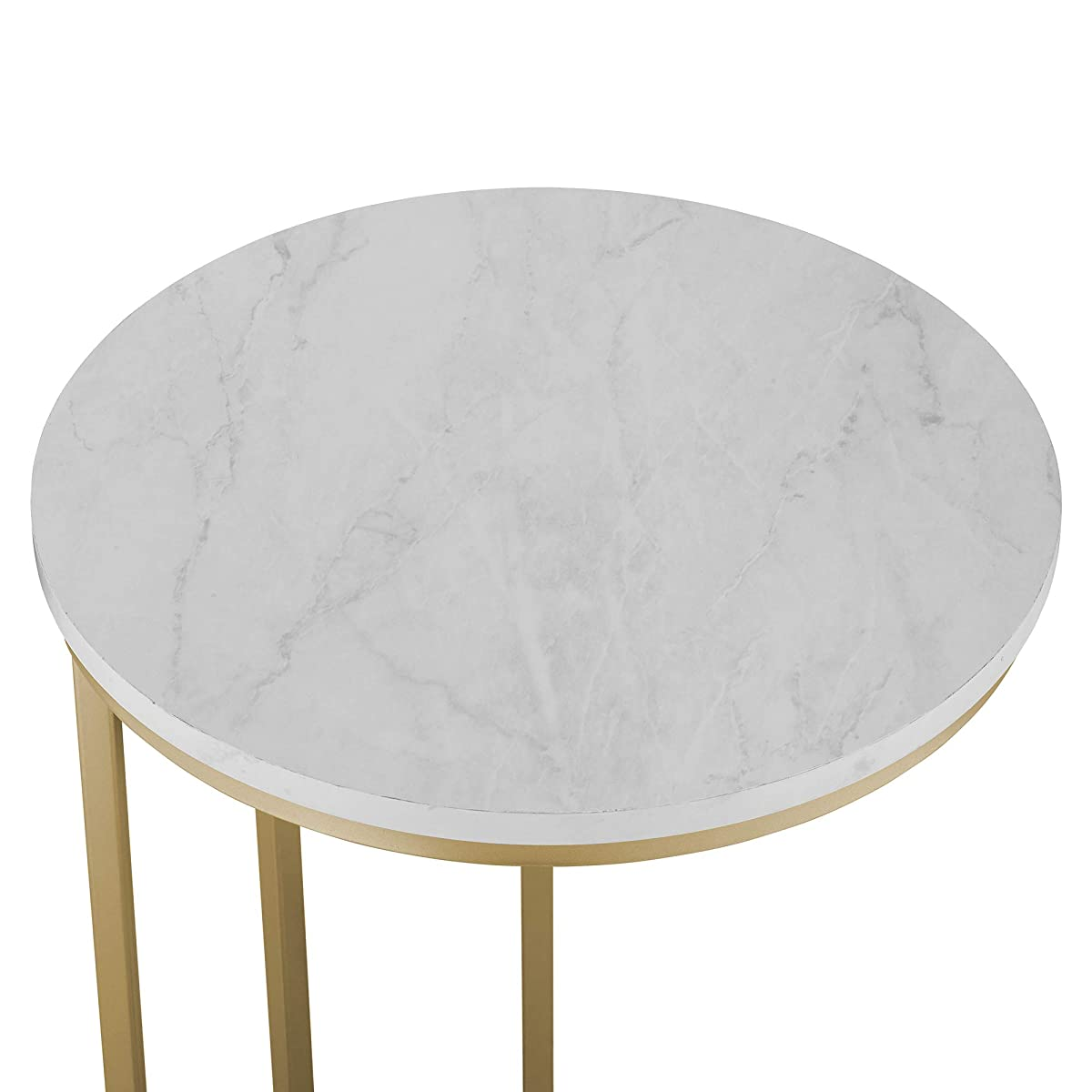 "WE Furniture AZF16RCSTWM Side Table, 16"", Faux White Marble/Gold"