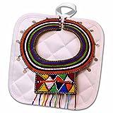 3dRose 3D Rose Africa Kenya Necklace of Maasai Tribal Beads Pot Holder, 8 x 8