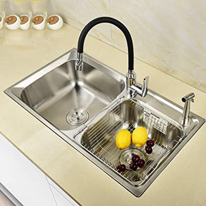 Amazon.com: Kitchen Sinks, 304 Stainless Steel Brushed ...