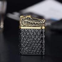 Mopoq Doble arco más ligero de carga USB for encendedor de cigarrillos cuero de los hombres y de las mujeres a prueba de viento creativo electrónico Shake A fumadores (Color : Bronze)