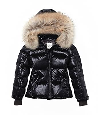 b869bc03af92 Amazon.com  SAM NEW YORK Girls Blake Jet Black goose down w fur trim  fashion jacket w hood (12)  Clothing
