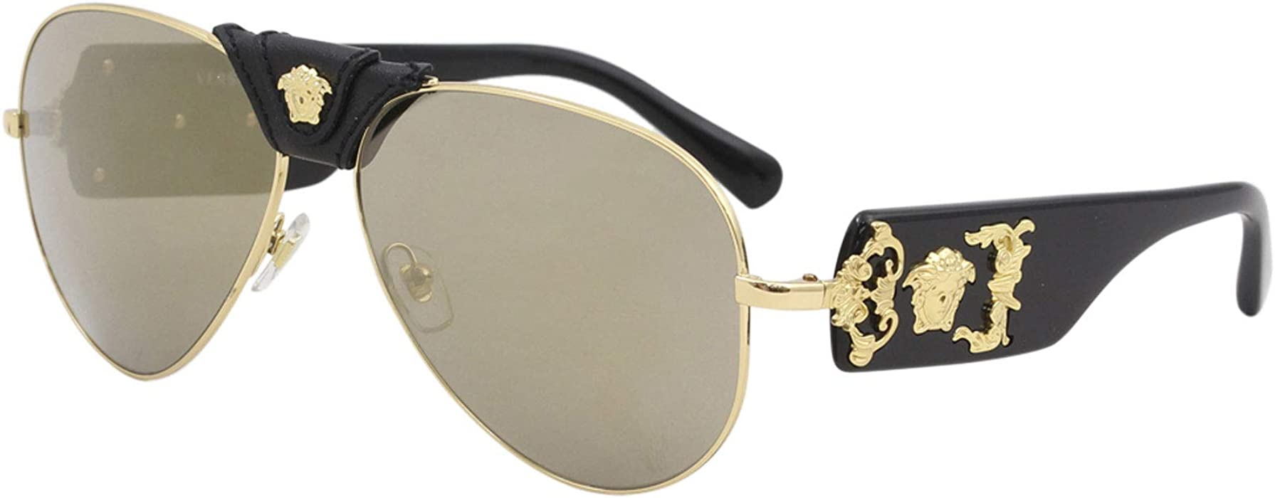 97f31f9c8a87 Amazon.com  Versace Mens Sunglasses Gold Brown Metal - Non-Polarized ...