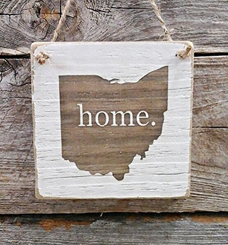 Ohio Home Hanger - Reclaimed Wood Ornament - Ohio Decor (small keepsake 4 inches by 4 inches in size)