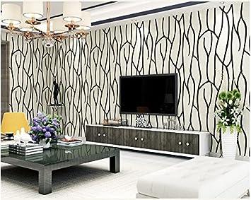 Yosot 3D Geometrischen Streifen Vliestapeten Wohnzimmer Schlafzimmer  Restaurant Fernseher Sofa Hintergrund Wand Hintergrundbild. Schwarz