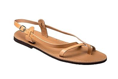 8b1cc7c81668e4 Damen Echt Leder Riemchen Sandale Sandalen Sandalette Kreta Beige Natur 39