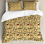 Ambesonne Africa Queen Size Duvet Cover Set by, Woman Silhouette with Colorful Clothes and Pots Deer Oriental Culture Inspirations, Decorative 3 Piece Bedding Set with 2 Pillow Shams, Multicolor