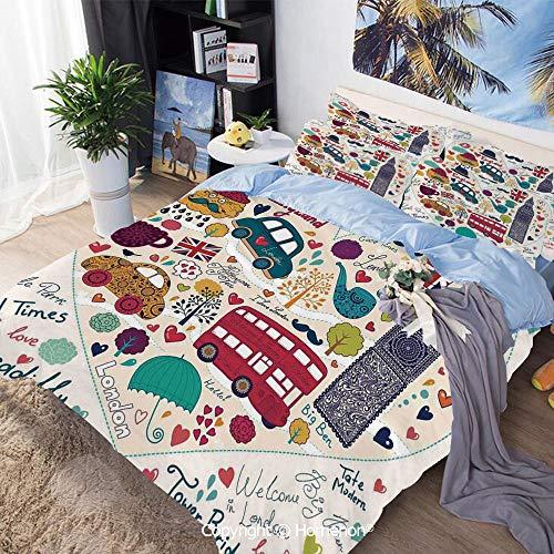 (3 Piece Set Microfiber Fabric,Colorful Symbols Red Bus Big Ben Tea Umbrella Hat Retro Black Cabin in a Heart Print,Queen Size,for Bedroom Guest Room,Multicolor)
