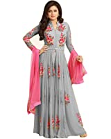 Dhruv Fab Women's Georgette Embroidered Anarkali Gown (Grey Color_Free Size)