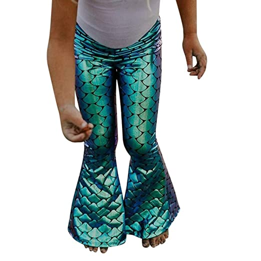 193badf48c42b Girl Fish Scale Symphony Mermaid Flare Pants Kids Girls Mermaid Stretch  Long Leggings Pants (100