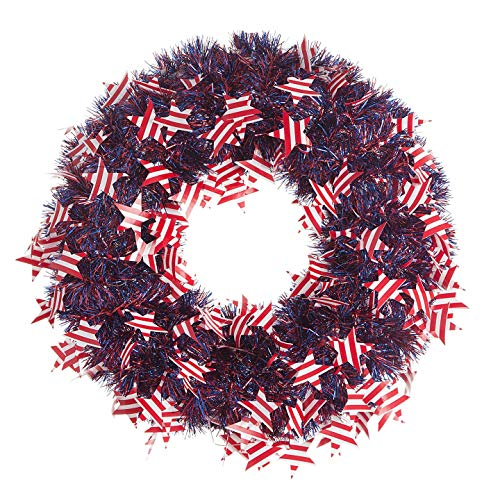 Darice Patriotic Wreath American Flags Tinsel 20