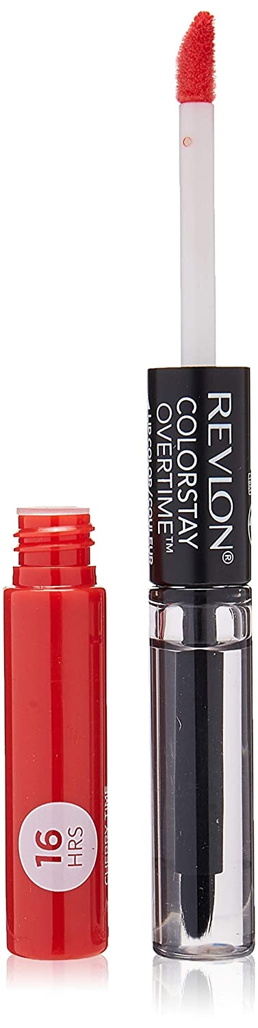 Revlon Colorstay overtime lipcolor, Longwearing Liquid Lipstick with clear lip Gloss, with Vitamin E, In Red, 020 Cherry Time, 0.8 Oz