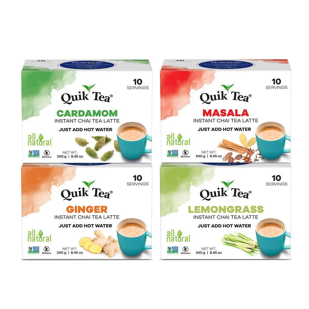 QuikTea Chai Tea Latte 4 Flavor Variety Pack, Cardamom/Masala/Ginger/Lemongrass, 960 Gram