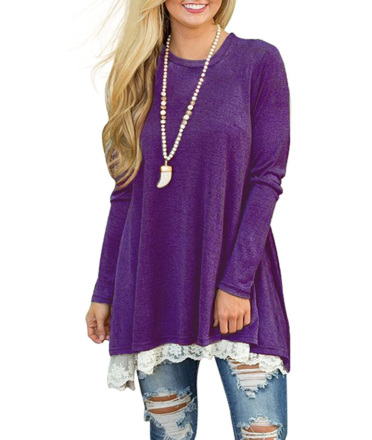 WEKILI Womens Tops Long Sleeve Lace Scoop Neck A-line Tunic Blouse