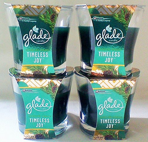 (Glade 4 Timeless Joy Sparkling Spruce Scented Oil Candles 3.4 oz. Each Limited No Logo)