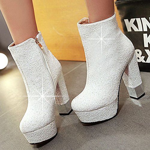 Kaloosh Women's Glitter Fabric Pointed Toe Square High Heel Platform Ankle Boots White B5BGx99VPL