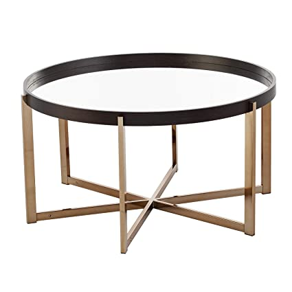 Amazoncom Round Mirrored Coffee Table Mirror Top With