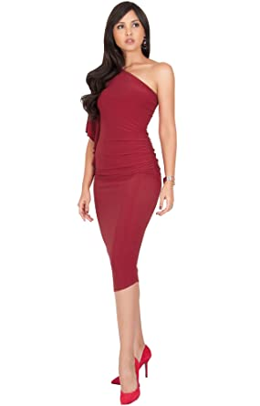 Koh Koh Womens One Shoulder Sexy Long Semi Formal Cocktail