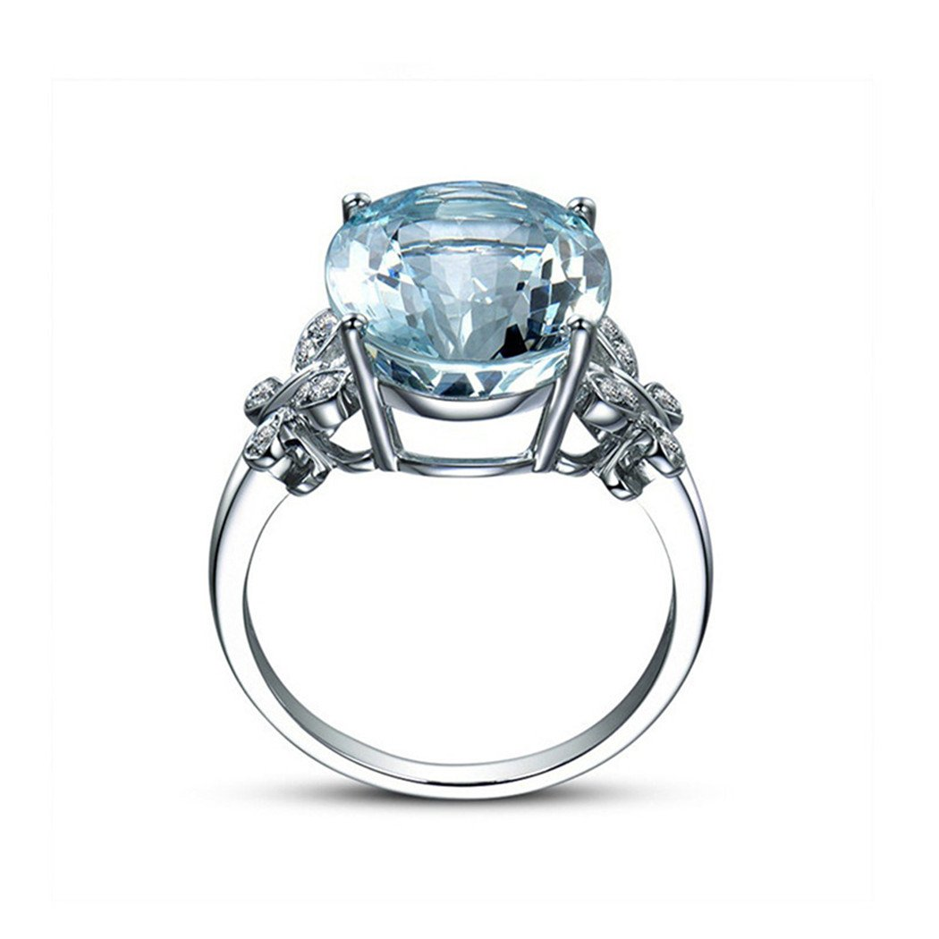 Myhouse Women Girls Sea Blue Topaz Butterfly Ring Platinum-plated Zircon Ring For Gifts Charms Findings (9)