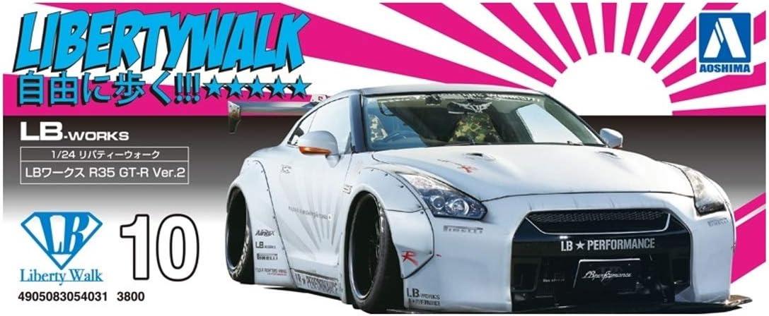 Nissan GT-R R35 LB Works PIRELLI Tires 1:24 Model Kit Bausatz Aoshima 054031