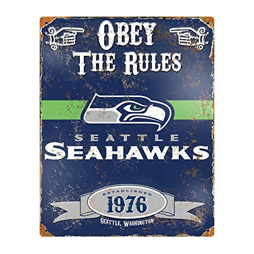 Seattle Seahawks Nfl Metal (Party Animal NFL Embossed Metal Vintage Seattle Seahawks Sign)
