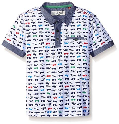 Sovereign Code Big Boys' Bailey Short Sleeve Sunglass Print Polo Shirt, White Glasses, - Sunglasses Bailey