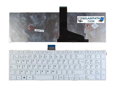 Teclado Compatible DE Y para PORTATIL Toshiba Satellite C55-B1056 EN ESPAÑOL con Marco Blanco