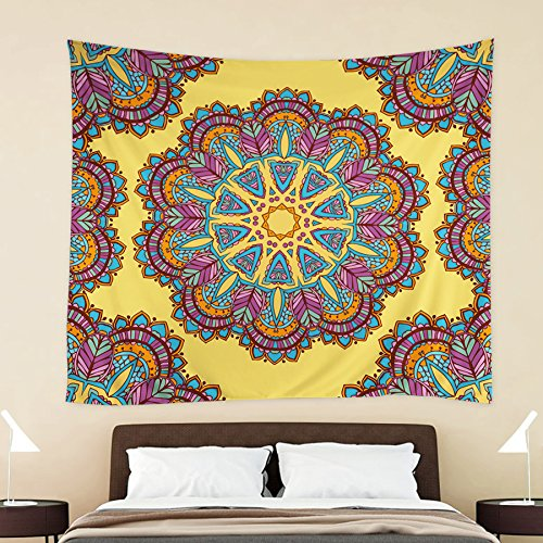 HOKWAY Hippie Tapestry Boho prints Wall Hanging Art Decor Polyester Fabric Ethnic Decorative Bedspread Picnic blanket Beach throw (60'' x 60'', Pattern H)