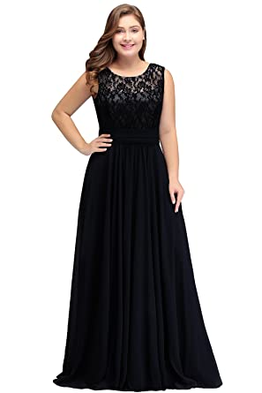 Babyonlinedress Womens Sheer Lace Sleeveless Maxi Long Plus Size Prom Dresses,Black,Size 14W