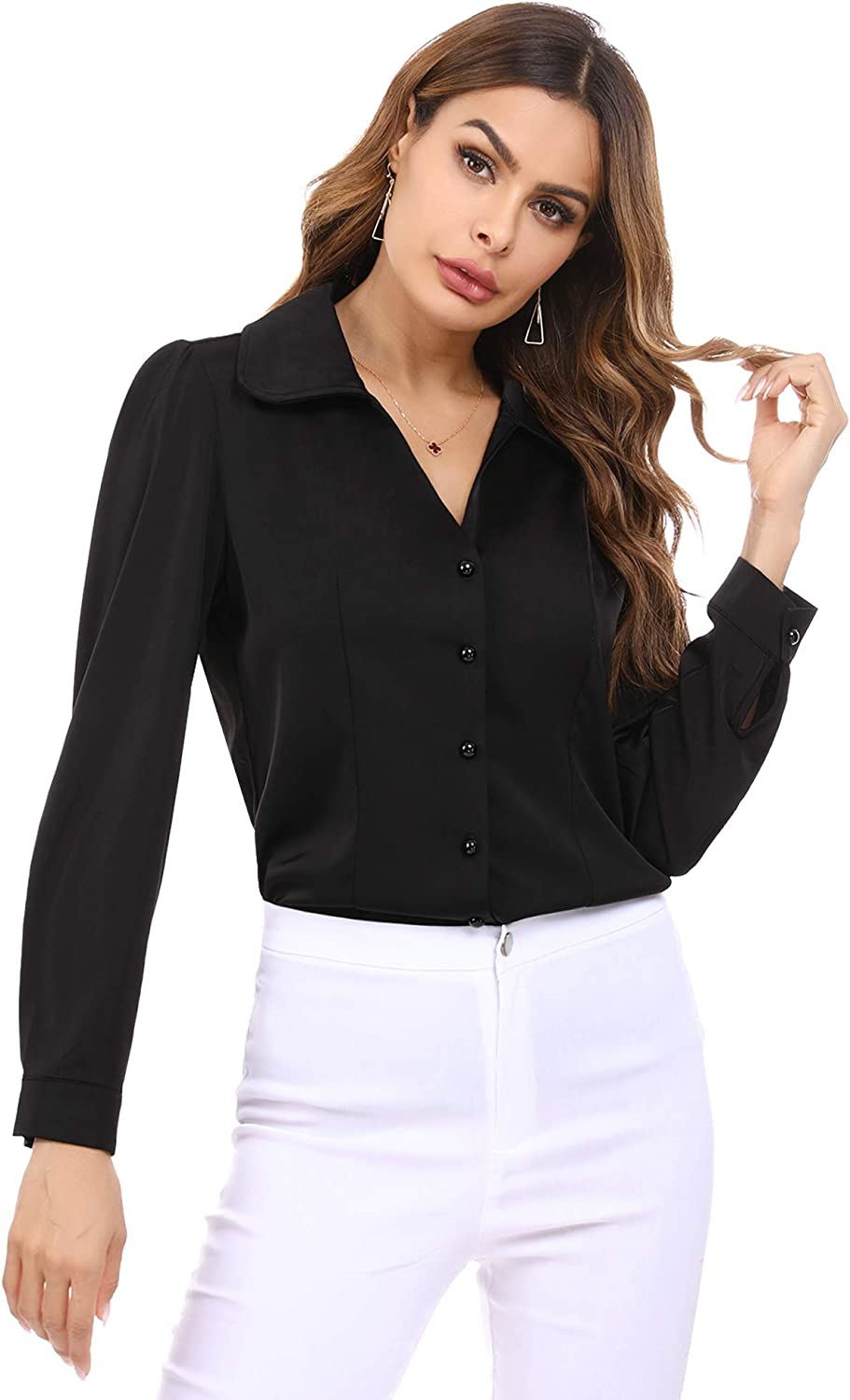 Irevial Women's Split V Neck Button Down Henley Shirts Long Sleeve Satin Casual Blouse Tops