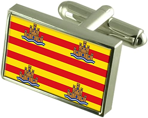 Select Gifts La Ciudad de Ibiza España en Plata esterlina Gemelos Bandera Cuadro Grabado: Amazon.es: Joyería