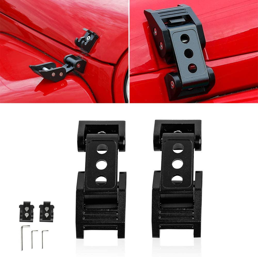 with key E-Most Road//Freeways Hood Latch Red-Style Anti-Thief Hood Lock Latches Catch Locking Kit // 1 Pair for Jeep Wrangler JK 2007-2017