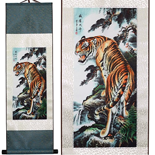 Scroll & Picture Scroll & Wall Scroll Calligraphy Hanging Artwork (The Tiger is Roaring) (Chinese Art Wall Scroll Painting)