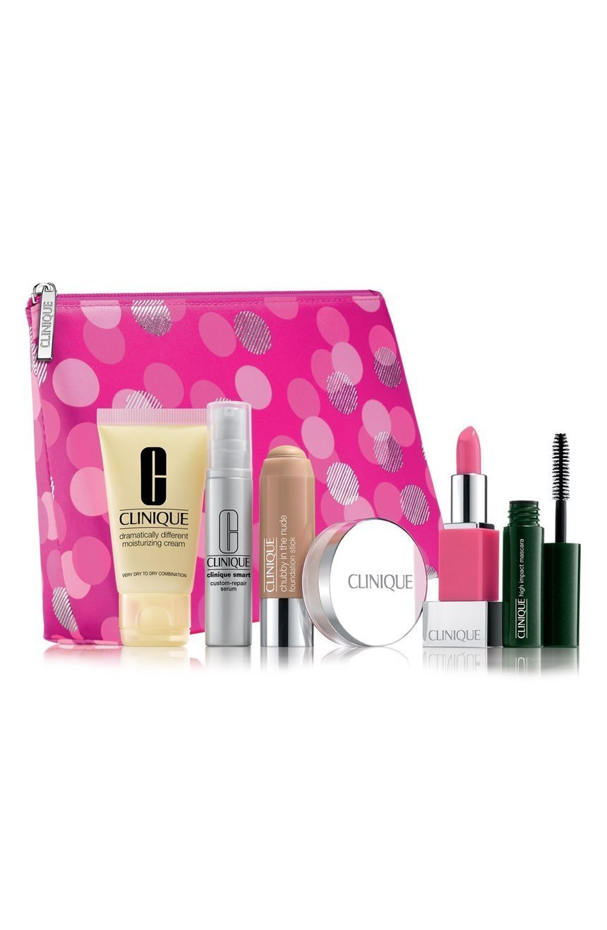 NEW 2016 Clinique 7pc Skincare Makeup Gift Set NEUTRAL Foundation, Smart Custom-Repair Serum & More! ($75 Value)